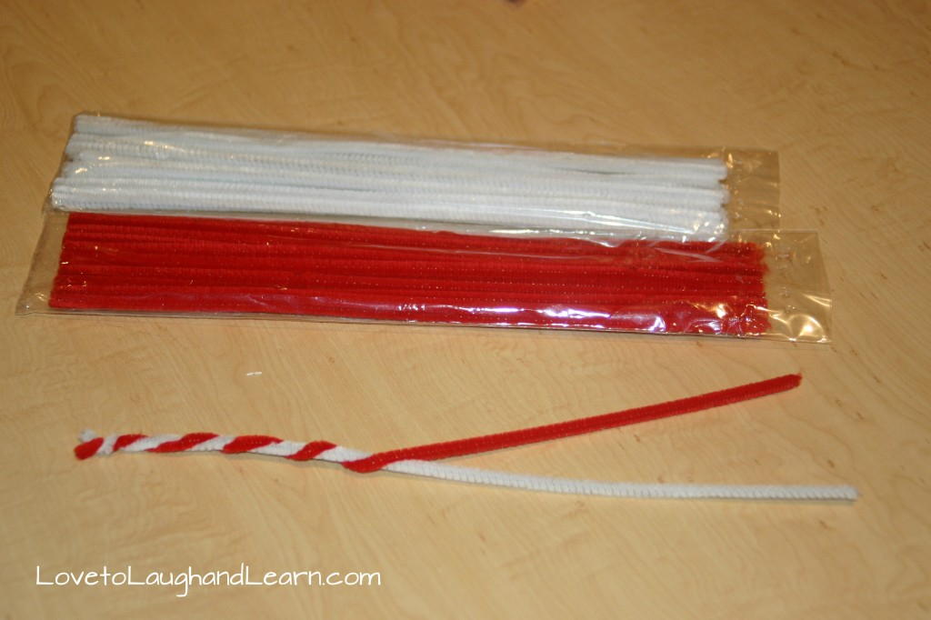 Candy Cane Craft with Pipe Cleaners