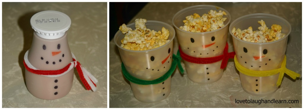 Making Memories with the Polar Express: snowman milk and popcorn cups