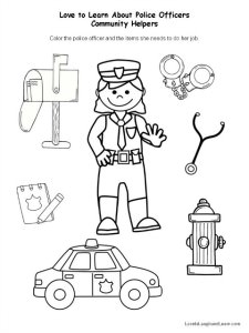 Police Officer Fun Sheet - Help the officer find the equipment she needs to do her job.