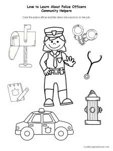 math worksheet : police officers love to learn about community helpers  : Community Helpers Worksheet Kindergarten