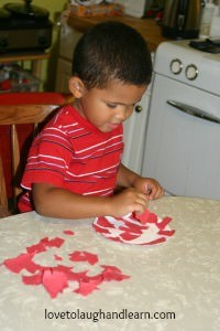 Learning Activities for the Color Red: Torn Paper Apple Craft