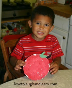 Learning Activities for the Color Red: Completed Torn Paper Apple Craft