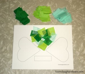 Tissue covered shamrock craft.