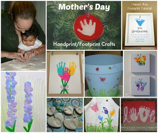 Favorite Mother's Day handprint and footprint crafts.