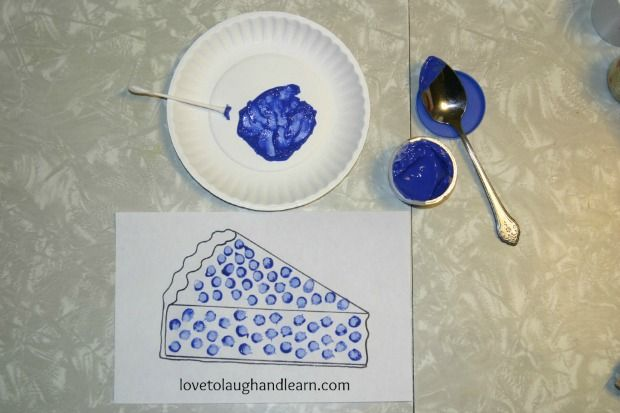 Blueberry Pie Craft With Q Tip Learning Activities For The Color Blue
