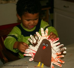 Have fun making turkeys from your child's hands and feet.