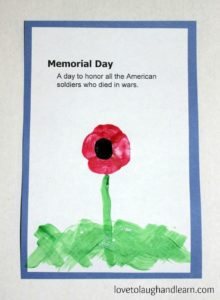 Fingerprint Poppy Craft with free printable